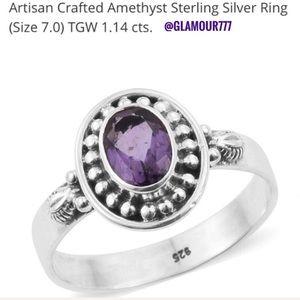 Jewelry - Sterling Silver Amethyst Ring. Bezel Set. Size 7.